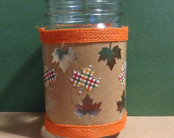 Colorful Fall leaves mason jar tea light holder