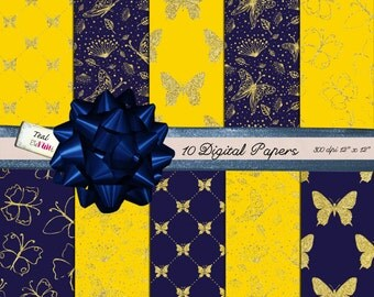 10 Digital Glittery Papers with Butterfly Motifs in Sunny Yellow and Navy Blue for Digital Scrapbooking Gold Glitter