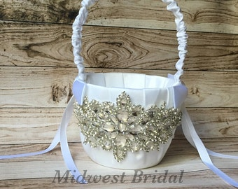 White Satin Crystal Rhinestone Flower Girl Basket Wedding
