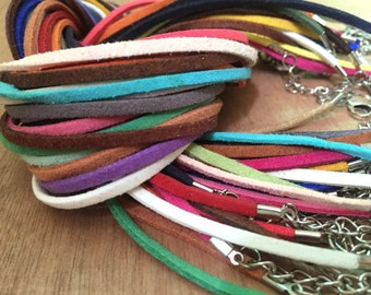14-30inch length choose wholesale 100pieces assorted colors 2.5mmx1.5mm suede leather necklace cords(#0507)