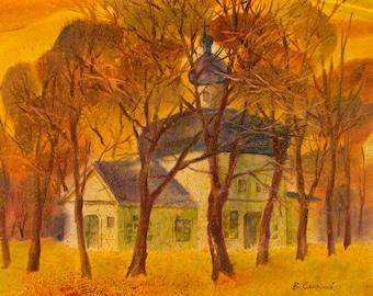Gentle cityscape Odessa Autumn landscape UKRAINE professional art watercolor ORIGINAL