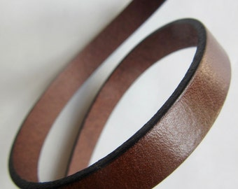 Leather flat 10mm x 20cm CHOCOLATE - country of origin: Spain