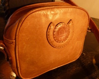Vintage 90s Tan Leather Mini Cross Body/Messenger Bag