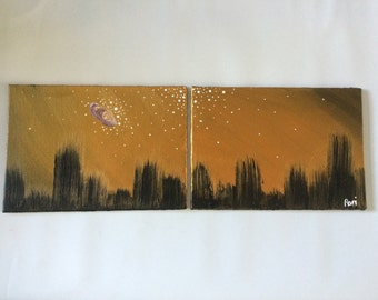 Golden Sky City Painting