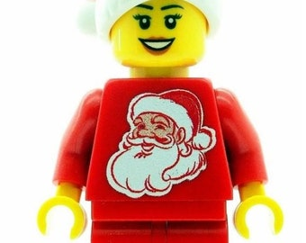 Custom Design Minifigure - Christmas Girl with Santa Torso & Hat