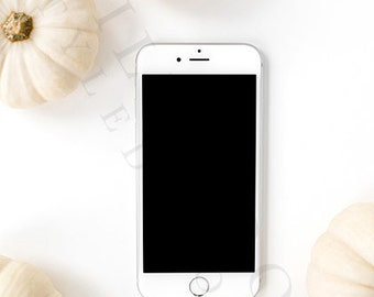 Styled White Pumpkin iPhone Stock Image | Desktop Styled Stock Image | Styled Stock Photography | Fall Styled Stock Photography