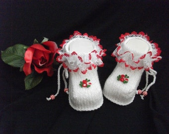 knitted baby shoes, baby shoes, baby socks, Babybooties * fire flower *.