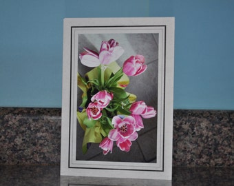 Double Framed Card - Pink Tulips