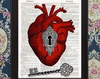 The Key to my Heart Anatomical Heart Love Victorian home wall Room decor Upcycled Recycled Reused Vintage Dictionary Book Page Art Print