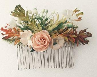 Peach Floral hair comb, flower comb, Bridal comb,  bridal headpiece, bridesmaids comb, Bridal hair flower, Hair Accessories