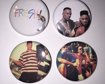 Set of 4 DJ Jazzy Jeff & The Fresh Prince Of Bel Air Buttons sized at 1.25 inches - Philly old school hip hop Will Smith D.J.