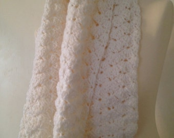 white Scarf, Infinity Scarf, crochet scarf, wraparound scarf, winter scarf,