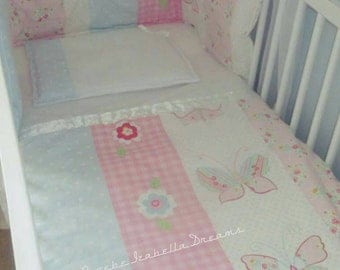 Beautiful cot bedding, unique cot bedding, baby girl, cot set, crib bedding, nursery set, girls nursery set, girls crib bedding