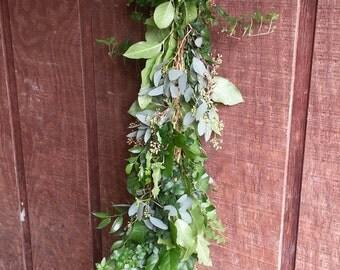 Freshly Cut Salal, Seeded Eucalyptus, Italian Ruscus, Green Ivy Garland