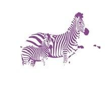 "Kids nursery room art Printable Zebra 8.5x11"" playroom wall art, letter paper size, mother and baby, deep purple, pastel"