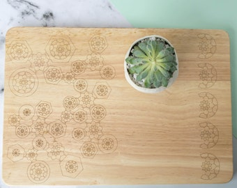 Geometric Floral Serving Board - Wooden Cutting Board, Etched Cutting Board, Cooking Gift
