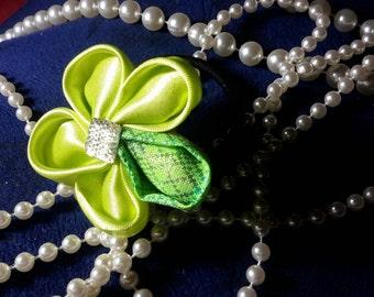 Lime Green Satin & Jacquard Fabric Flower hair tie
