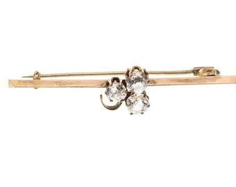 "Estate 9ct 9k Yellow Gold Glass Diamond Vintage Bar Brooch Pin Flower 2"" long 2.8 g Victorian 9kt 9 k kt ct Antique Irish 3-Leaf Clover"