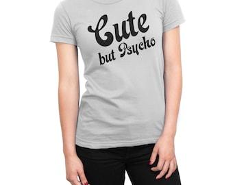 Harley Quinn Cute maar Psycho Fan Shirt vrouwen UNISEX Custom design