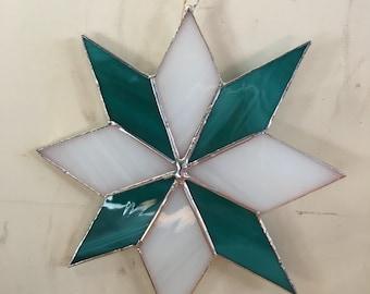 White and Aqua 8 Point Star