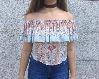 Shoulderless top / Shoulderless blouse / Shoulderless/ Off the shoulder/  Wide frill shoulders / Floral bordeaux fabric /Boho top/For teens