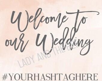 Custom 8.5x11 Peach Watercolor Wedding Welcome Sign