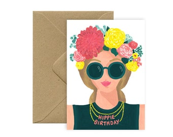 Card A6 - HAPPY / HIPPIE BIRTHDAY - wife and Crown of flowers