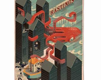 Hastings Beach Monster Print