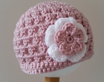 Baby Girl Beanie with Flower detail