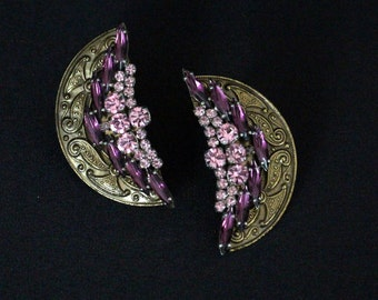 Bulatti-Sarbanes Oxley Compliance Solution-Gorgeous Vintage Clip Earrings, Amethyst * Free Shipping *