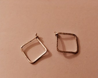 Small, silver, minimal and edgy, hammered square hoop earrings