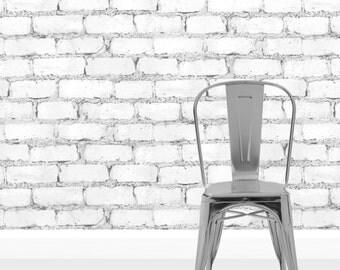 Denby Grey White Brick effect Wallpaper