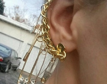Harley Quinn Inspired Gold Safety Pin Single Piercing Ear Cuff