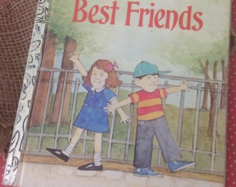 "Vintage Little Golden Book ""Best Friends"" 1983. Adorable little book with little wear.  No markings or tears. Gold spine has faded a little."