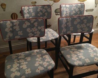 Upholstered up cycled mid century dining chairs