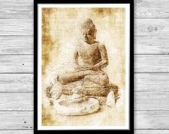 Buddha print, Archival art print with style of old geographic maps, Buddha Art Print, Vintage decor, Buddha Statue Print, Yoga studio decor