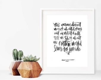 Ocean // A4 Calligraphy Poetry Line Print