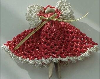 Clothespin Angel, Watermelon Dress