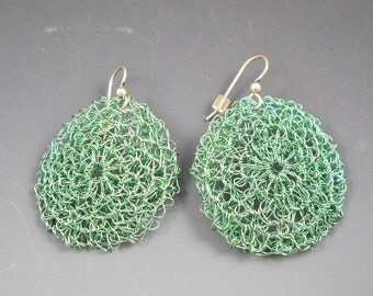 Turquoise Colored Crocheted Earrings with Sterling Ear Wires KHE1524