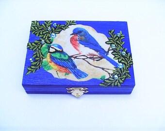 Blue bird box, business card box,  fabric design, playing card box, rings, dresser decor, cobalt blue paint, beaded