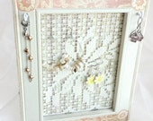 Jewelry organizer wall, earring holder, jewelry display, jewelry organization frame, home decor, earring stand, peach and white