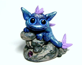 "OOAK Trollfling Troll Miniature Water Dragon ""Miraz"" in blue by Amber Matthies"