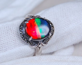 Ammolite Ring.Grade AA beauty.Sterling silver.See size info in body of ad.