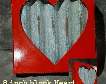 Metal block heart 8 inch Free Shipping by Junkfx