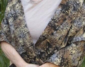 Shawl/Wrap  dark and light browns Batik like  (# 335) Price reduced