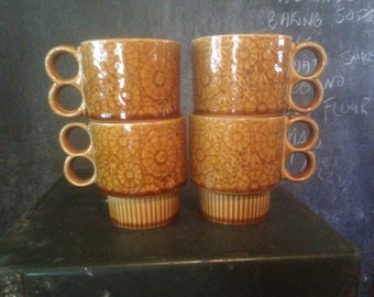Caramel Brown Floral  Mugs Japan Set Of Four 4  1970s Retro Stacking Coffee Cups Vintage Kitchen Ware