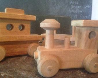 Toy Train Set  Wooden Handmade Preschool Plaything Home Decor 1970s Choo Choo