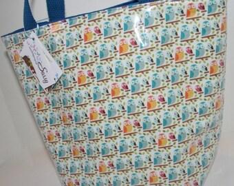 Owl Fabric Reusable Lunch Bag, Lunch Sack, Reusable Bag