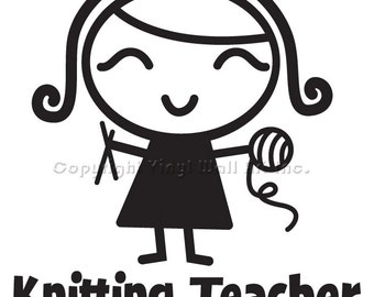 Knit Teacher Vinyl Car Decal - Car Decal, Laptop Sticker, Window Decal, Personalized Decal,