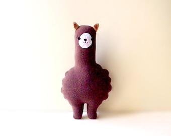 Alpaca Plush Toy, SMALL Alpaca soft toy, llama toy, brown alpaca, huggable alpaca, nursery toy, baby cot toy, MINI Alpaca Friend - BROWN